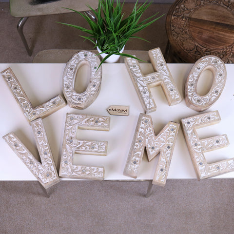 Dera Wooden Letters Love/Home Flower Carved Design