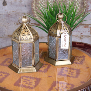 Set of 2 Cooch Gold Moroccan Frosted Glass Lantern 17cm