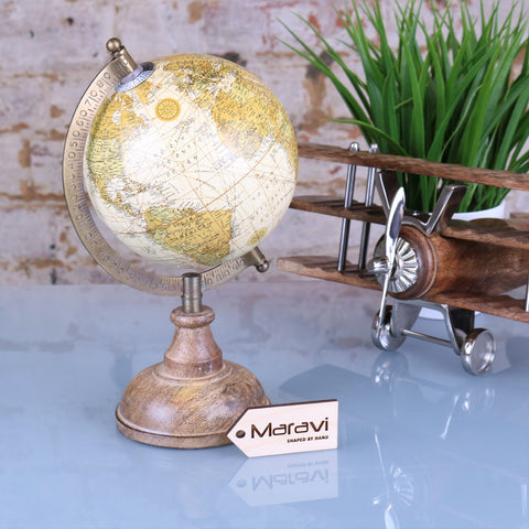 Irala 13cm World Globe Ornament Vintage Cream
