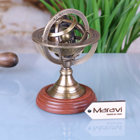 Ponnur Model Brass Armillary Sphere Paperweight 13cm