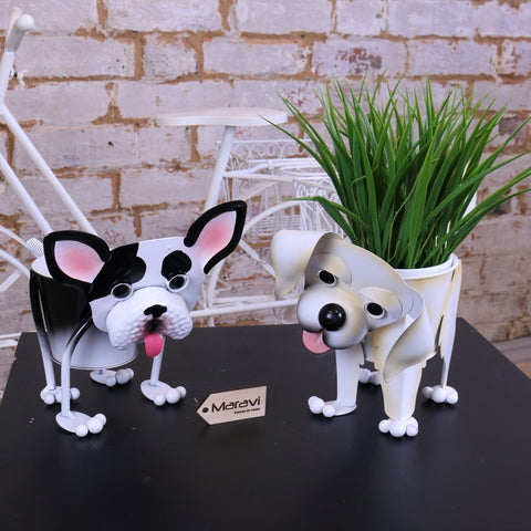Set of 2 Dog Planters Staffy and Labrador