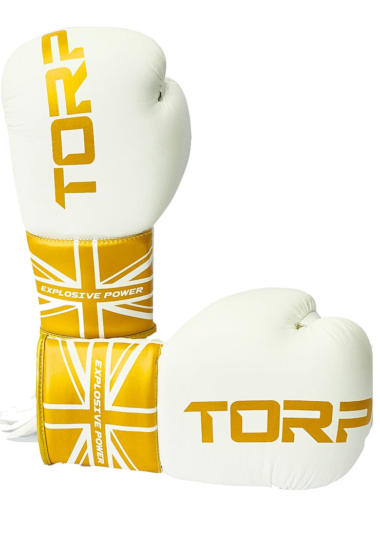 Laced White/Gold Boxing Gloves