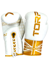 Load image into Gallery viewer, Laced White/Gold Boxing Gloves