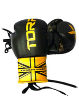 Load image into Gallery viewer, Laced Black/Gold Boxing Gloves