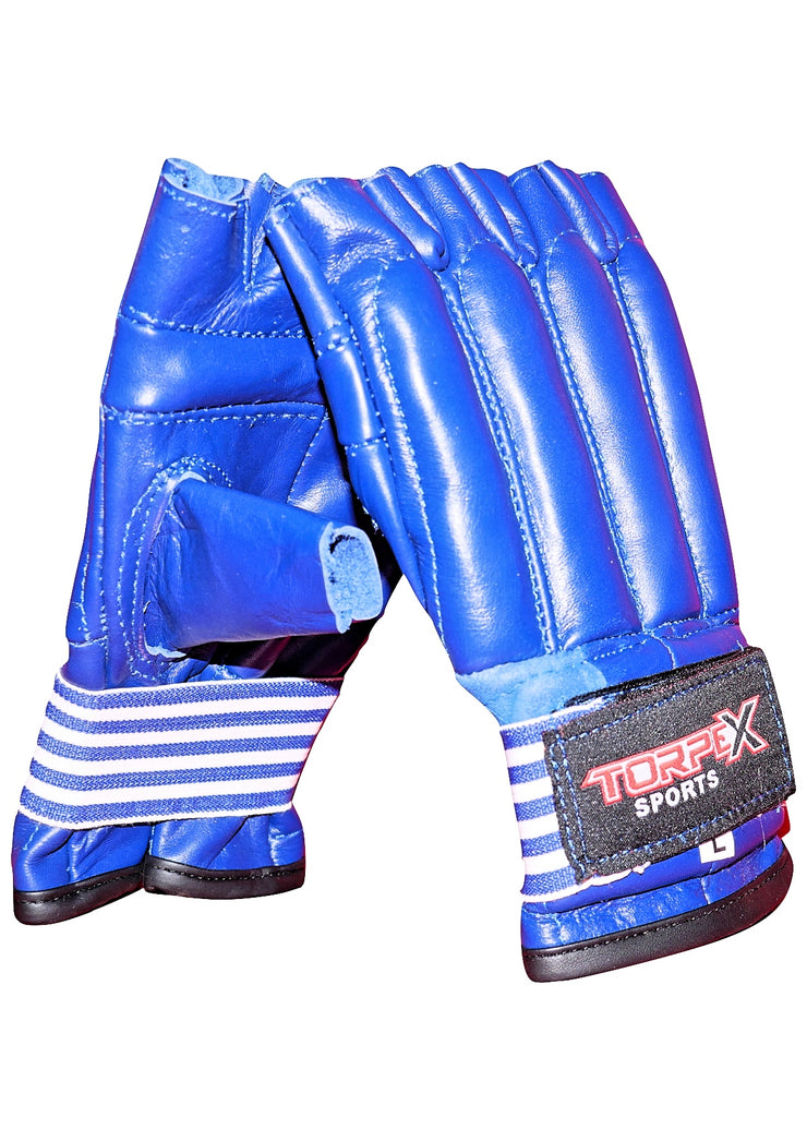 Blue Cowhide Leather Bag Gloves
