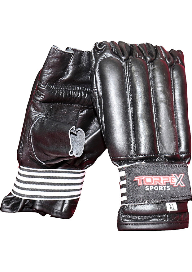 Black Cowhide Leather Bag Gloves