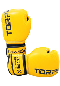 Yellow Pure Cowhide Leather Boxing Gloves