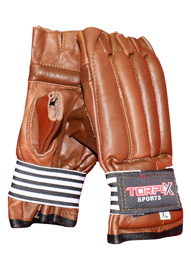 Brown Cowhide Leather Bag Gloves