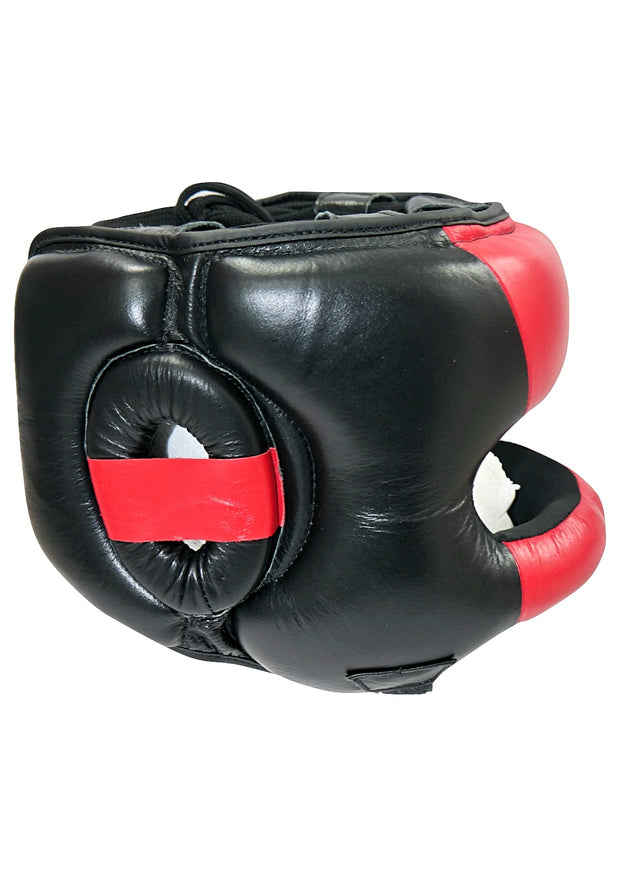 TXLR-14  Black & Red Nosebar Headguard - Cowhide Leather