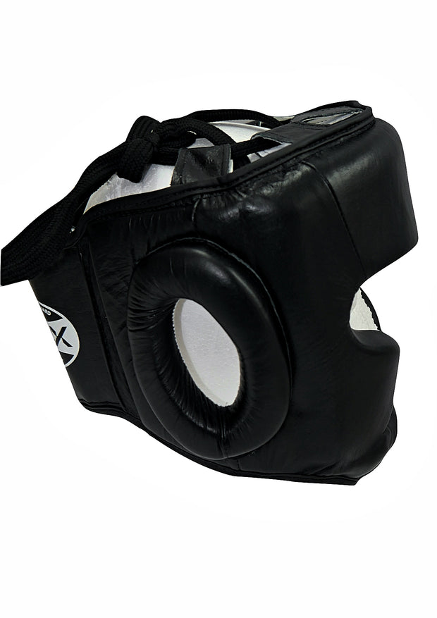 TXLR-14  Black & White Cowhide Leather Headguard