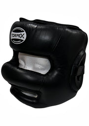 TXLR-14  Black & White Nosebar Headguard - Cowhide Leather