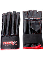 Load image into Gallery viewer, Black/Red Fingerless Bag Gloves