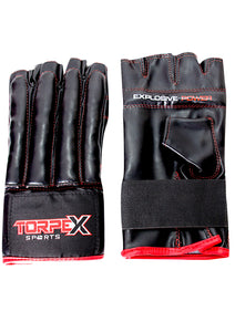 Black/Red Fingerless Bag Gloves
