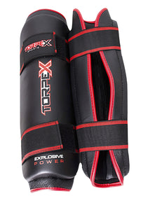 Black/Red Shin Guards