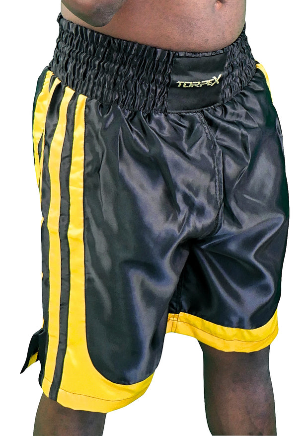 Black & Yellow Stripped Boxing Shorts