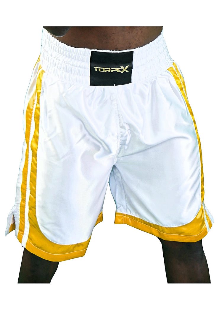 White & Yellow Stripped Boxing Shorts