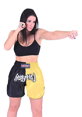 Muay Thai Black/Yellow Shorts