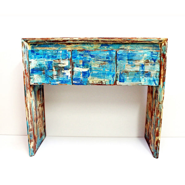 Aquamarine console table with mirror