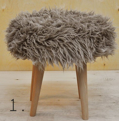Stool ELMO FUR/BEIGE EN