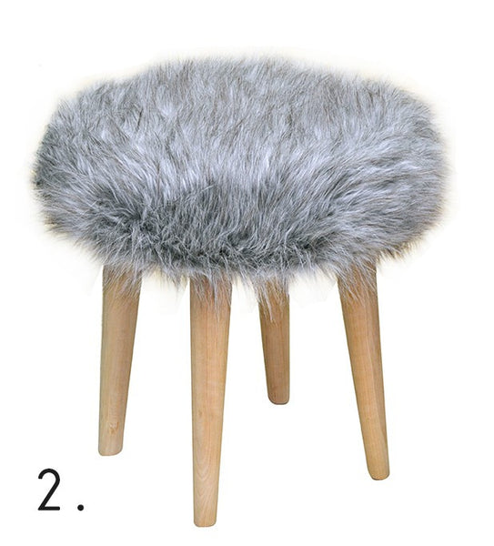 Stool ELMO FUR/GRAY EN