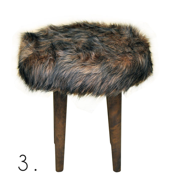 Stool ELMO FUR/BROWN EN