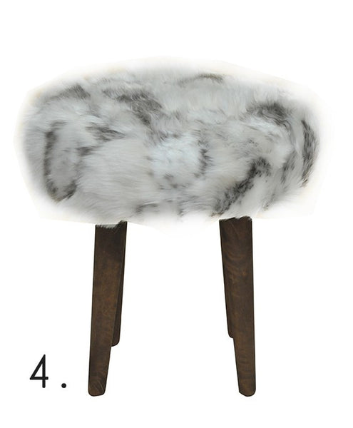 Stool ELMO FUR/ WHITE/GRAY EN