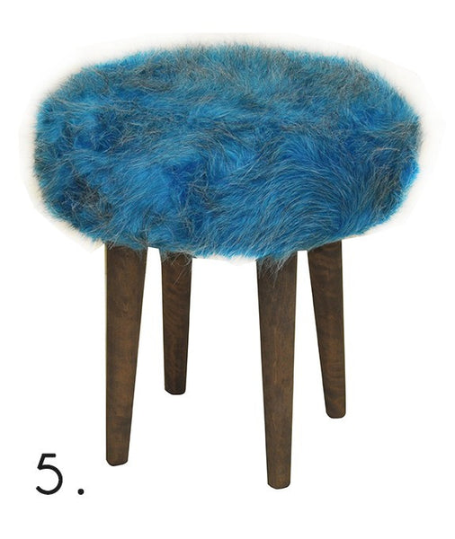 Stool ELMO FUR/BLUE EN