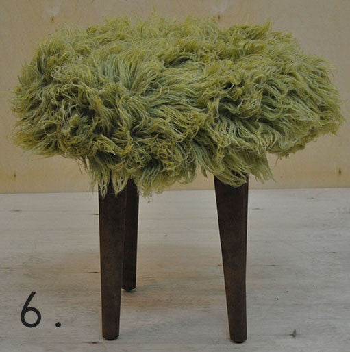Stool ELMO FUR/GREEN EN