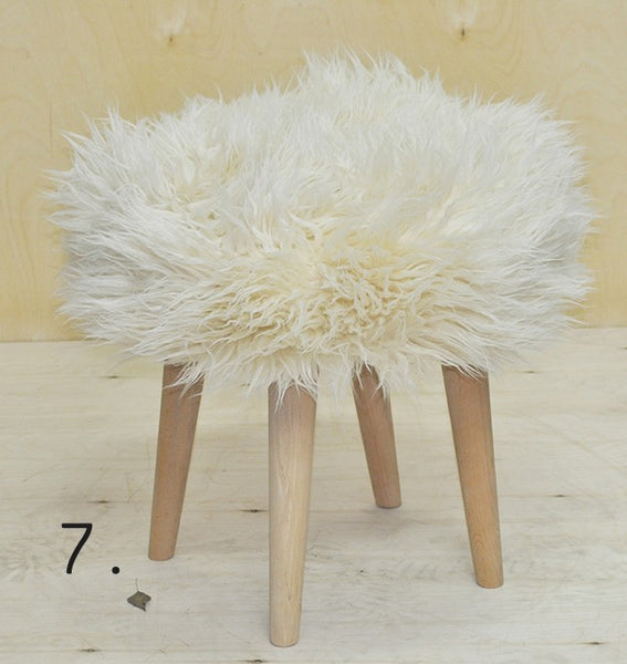 Stool ELMO FUR/CREAM EN
