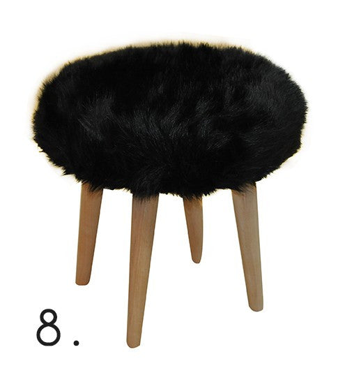 Stool ELMO FUR/BLACK EN