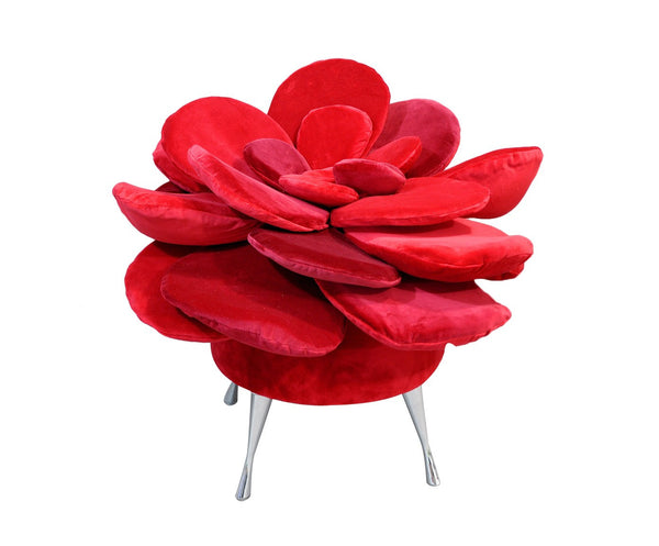 Pouf SUMMER FLOWER/RED EN