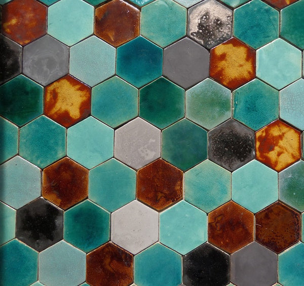 hexagon shaped ceramic tiles- turquoise and friends