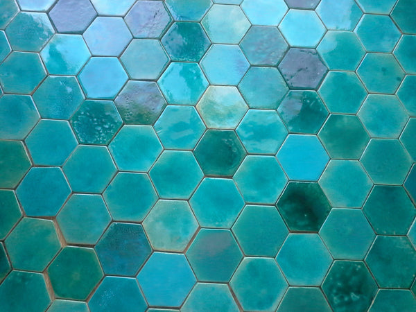hexagon shaped ceramic tiles- turquoise sea