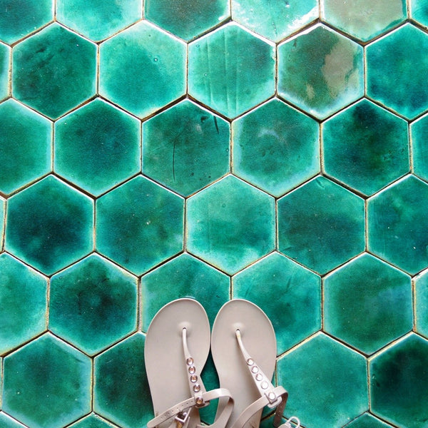 hexagon shaped ceramic tiles- iris