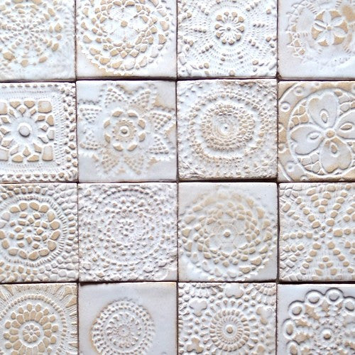 Square-shaped ceramic tiles - mix of traceries