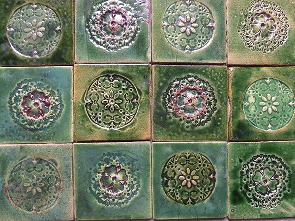 Set of 12 ceramic tiles - green forest