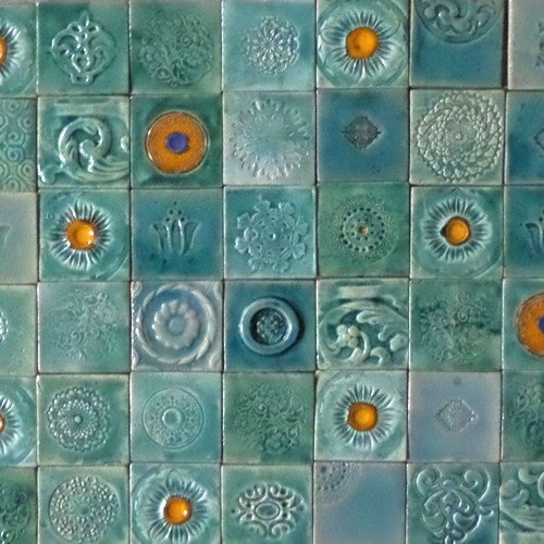 Square-shaped ceramic tiles - rustic turquoise colour