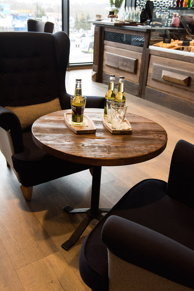 Round coffee table made of old wood to furnish restaurant or cafe. No. RE 233