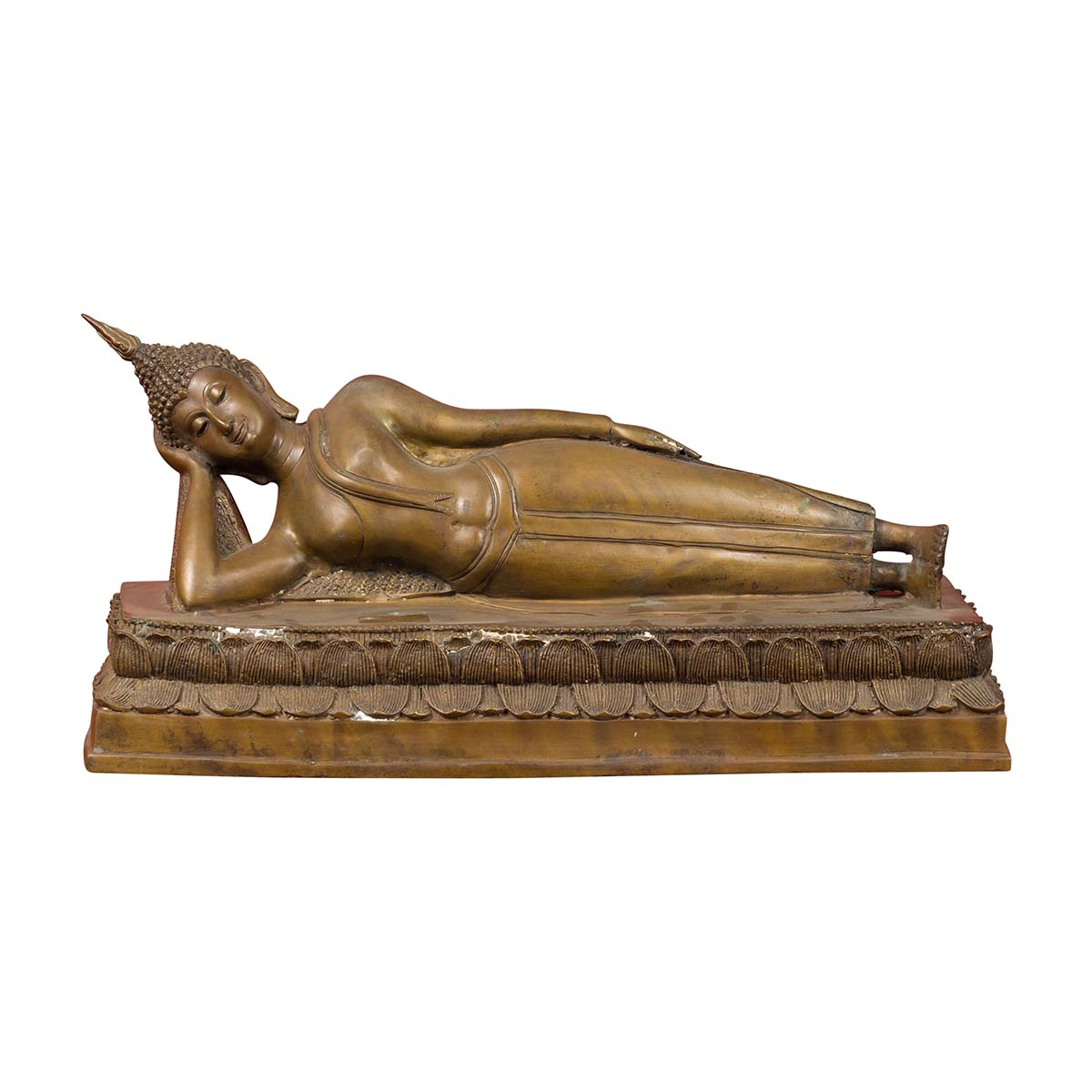 Vintage Thai Bronze Reclining Buddha Sculpture on Base with Lost Wax Technique
