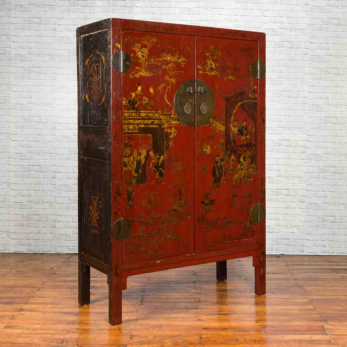 Chinese 19th Century Qing Dynasty Red Lacquered Cabinet with Chinoiserie Motifs