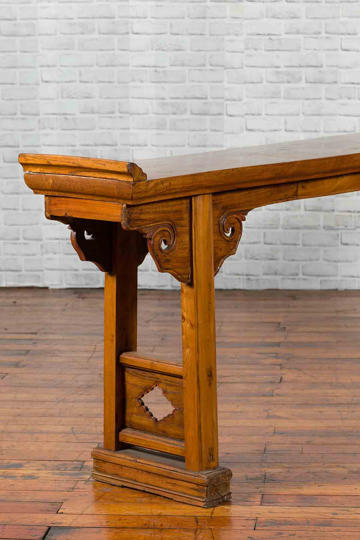 Chinese Late 19th Century Qing Elm Altar Console Table with Cloud Spandrels