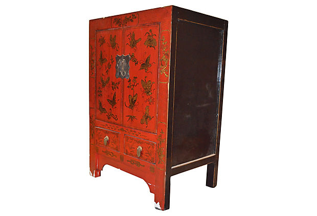 Red Lacquer Chinoiserie Bedside Cabinet