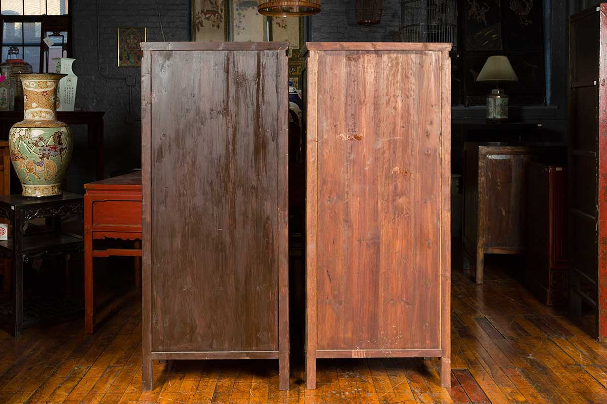 Pair of Chinese Vintage Brown Wood Cabinets with Partitioned Removable Shelves