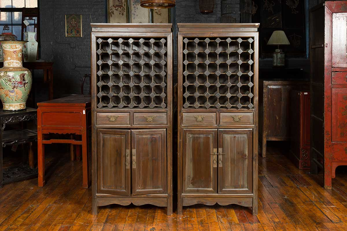 Pair Dark Brown Cabinets with Wine Rack