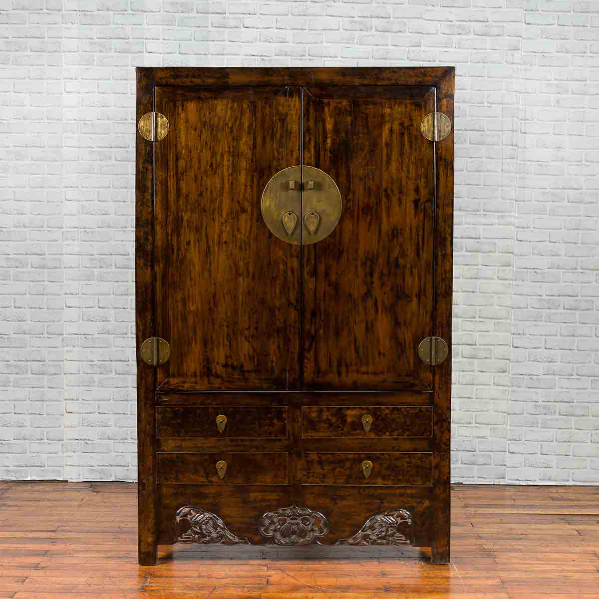Chinese Qing Dynasty 19th Century Dark Brown Elm Cabinet with Doors and Drawers
