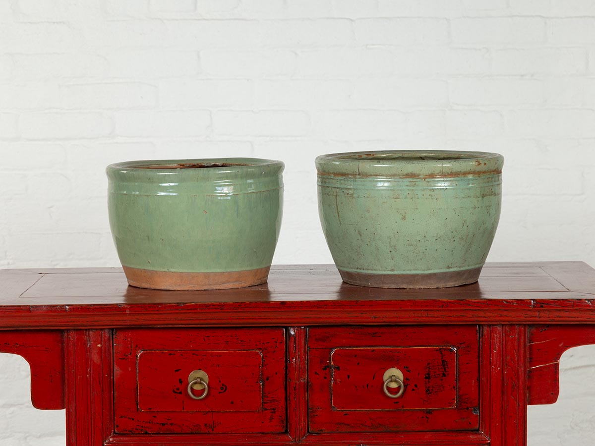 Near Pair of Large Vintage Chinese Green Glazed Ceramic Round Planters