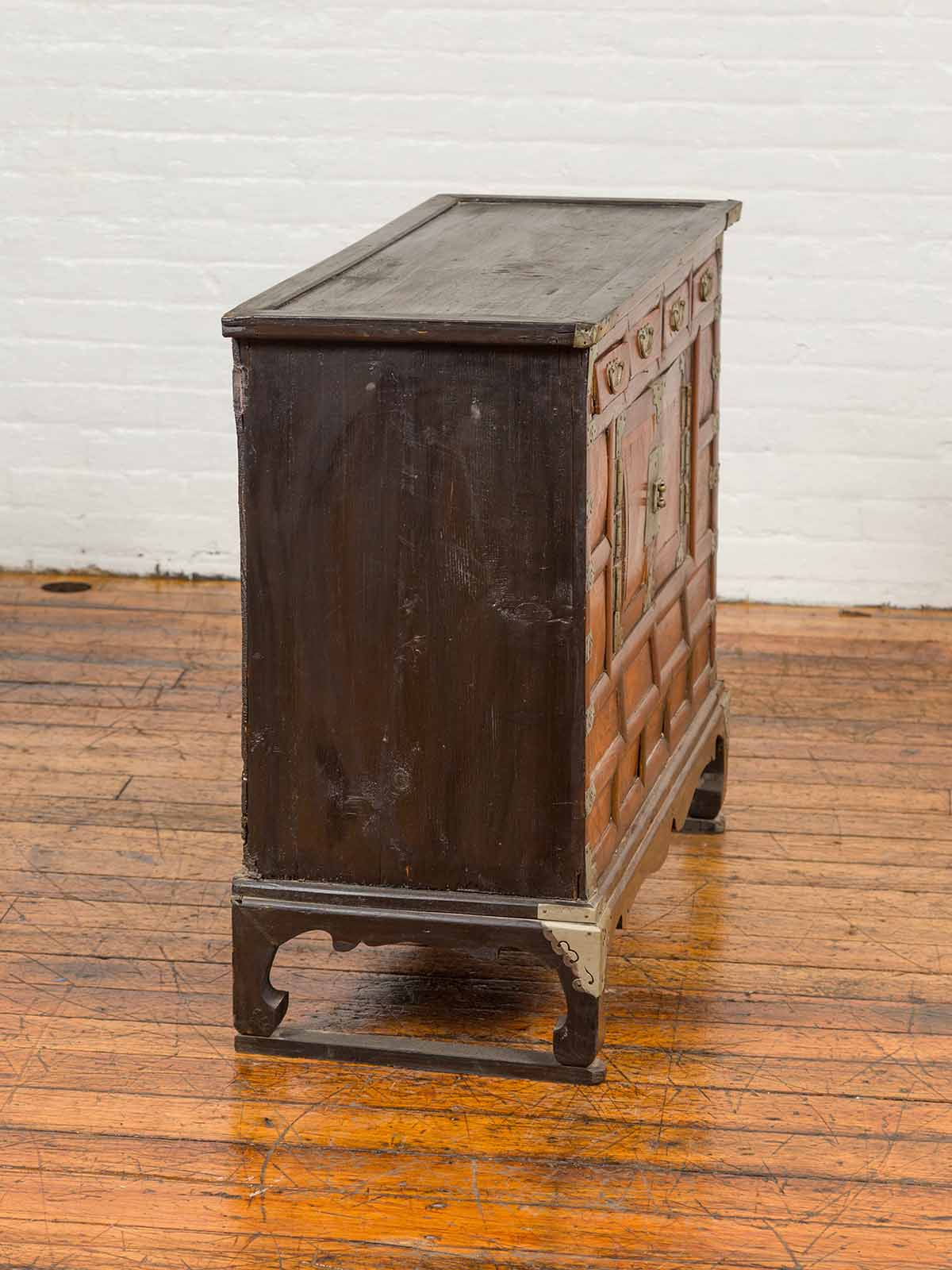 Korean 19th Century Two-Toned Wooden Side Chest with White Metal Hardware