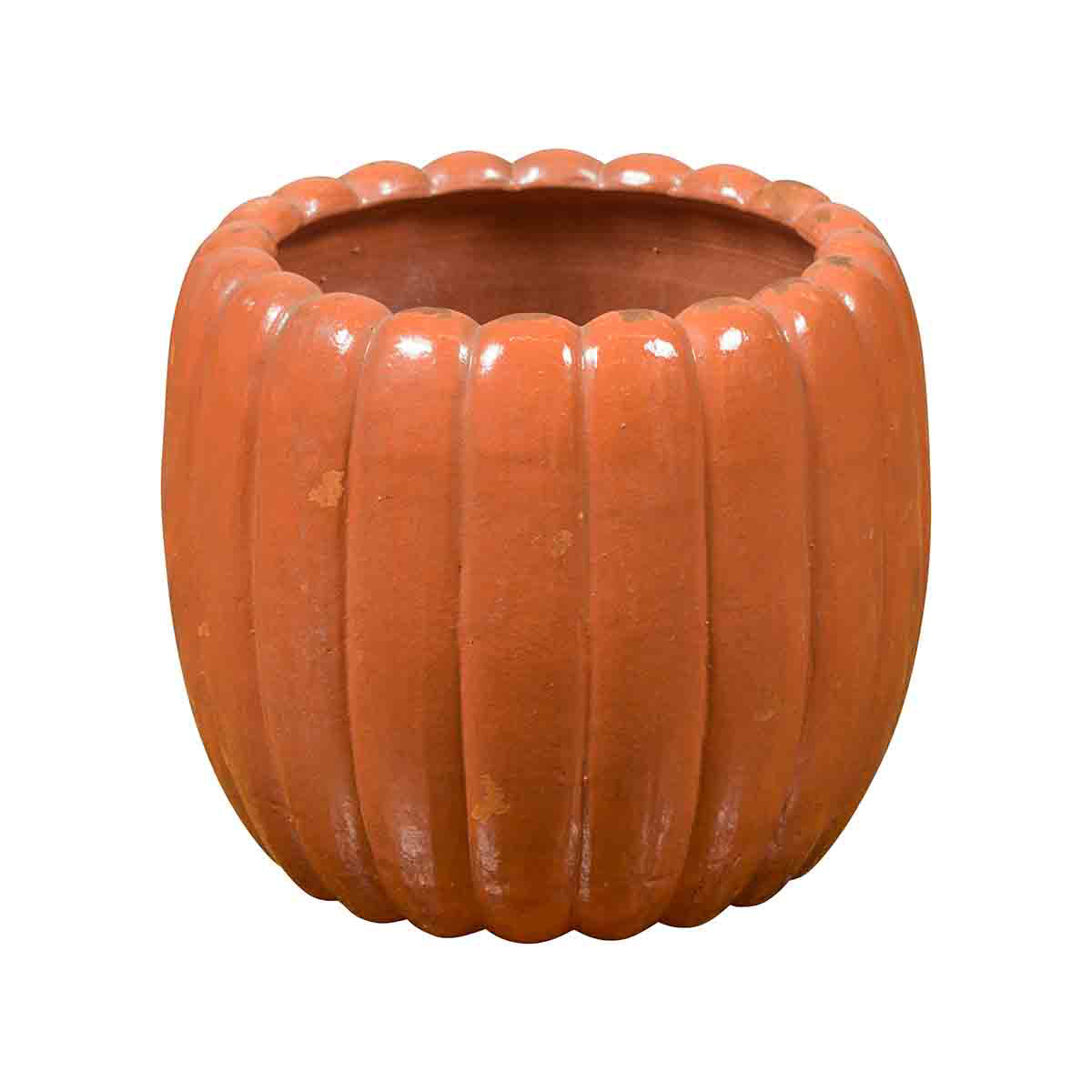 Japanese Taishō Period Handmade Coral Colored Pumpkin Shaped Planter