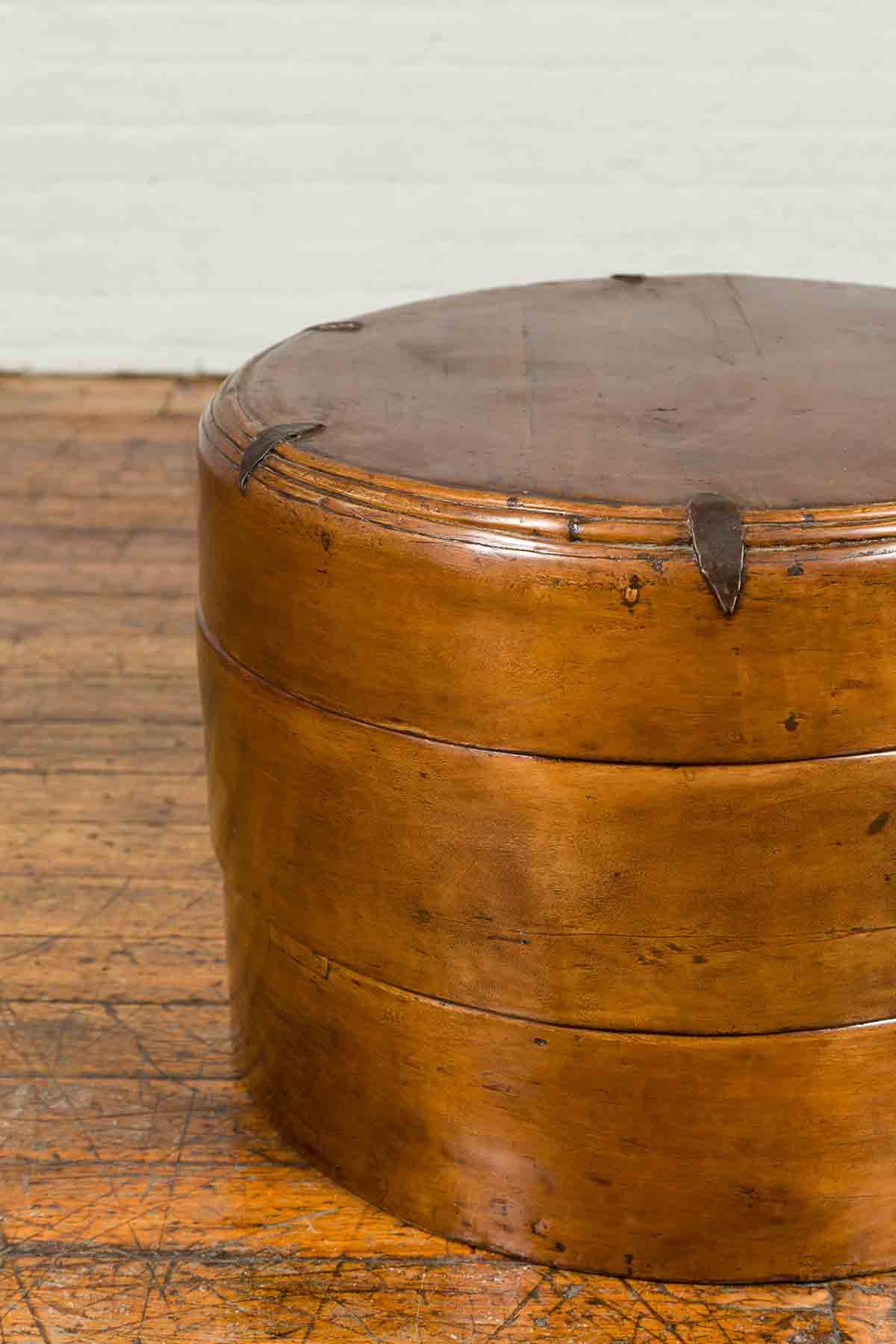 Large Chinese Qing Dynasty 19th Century Elm Three-Section Round Picnic Basket