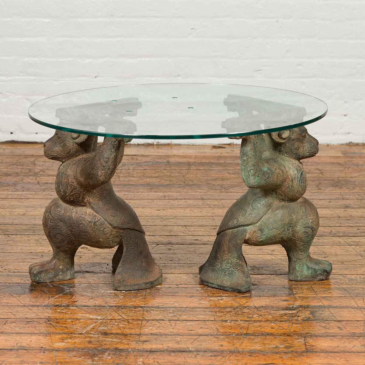 Vintage Bronze Double Monkey Coffee Table Base with Verde Patina